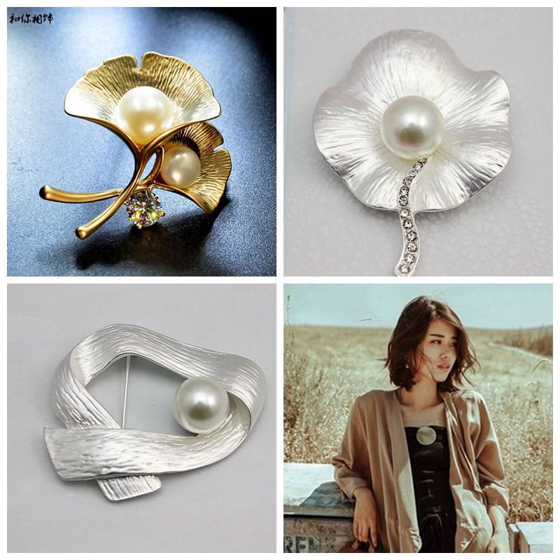 2018Jewelry Vintage Color Crystal Leaf Brooches And Pins Hot Ancient Silver Color Large Brooch For Women Sweater Dress