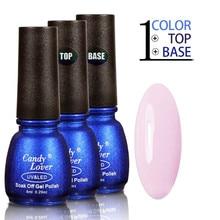 Candy Lover uv gel nail polish French Manicure nail tips 8ml pink gel polish + Base Gel +Top Coat  soak-off led/uv gel lacuqer