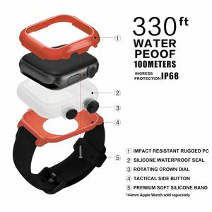 Image 3 - Full Protect IP68 Waterproof Case for Apple Watch Series 5 4 3 2 Silicone Strap Bracelet for iWatch 44mm 42mm Sport Band Cover