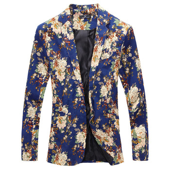 HOO2020 men's spring and summer cotton and linen printed Slim wild blazer
