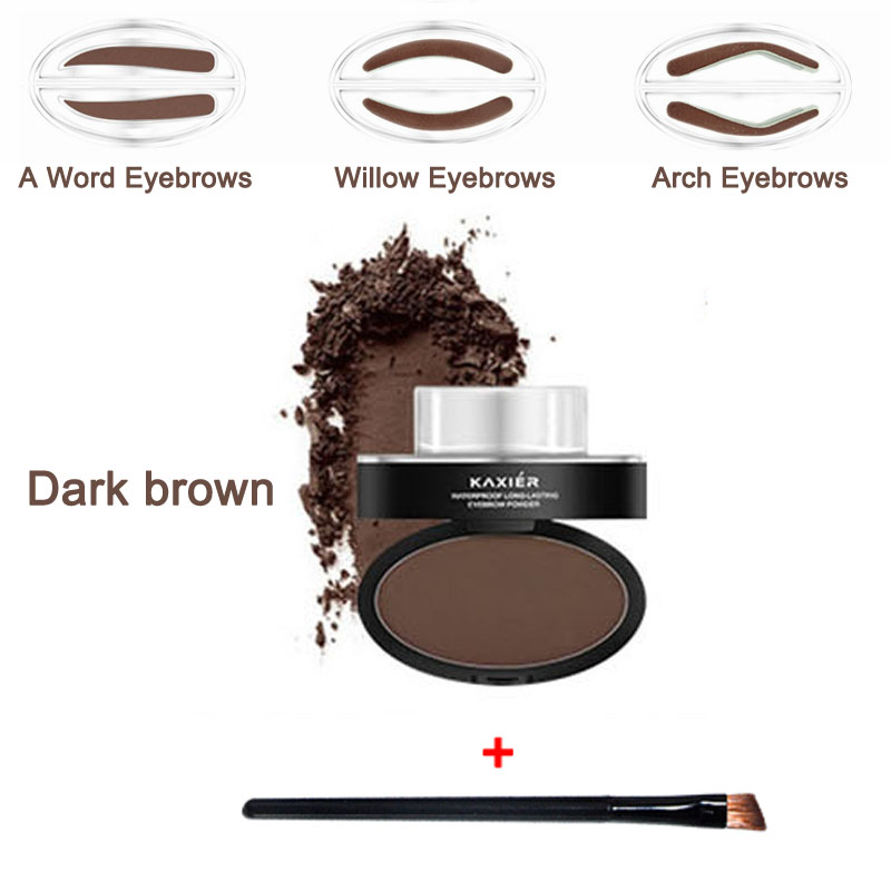 New Makeup Eyebrow Stamp Shadows 3 Styles Powder with Brush Seal Eye Brow Cream Eyeshadow Brow Fashion Convenience Powder