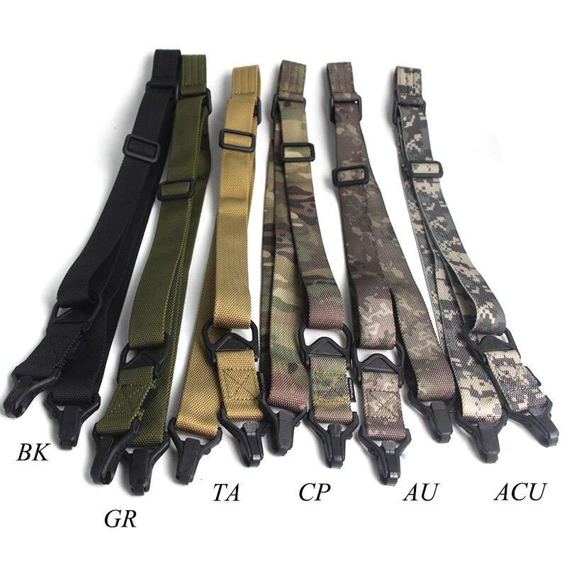 Caça dupla dois 2 pontos rifle sling ajustável náilon multi-função arma cinta airsoft tiro tático acessórios ao ar livre