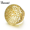 Viennois Fashion GP Gold Plated Hollow Out Circle Round Ring Size 7 8 For Women New Gold Finger Ring Jewelry