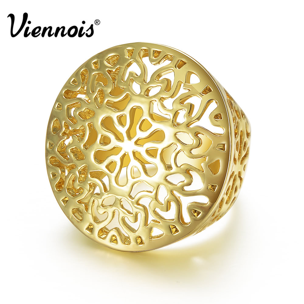 Viennois Gold Color Hollow Out Circle Round Ring Size 7 8 For Women New Gold Finger Ring Jewelry men s wallet genuine leather famous brand england style black clutch bag passport purse men card holder crocodile prints