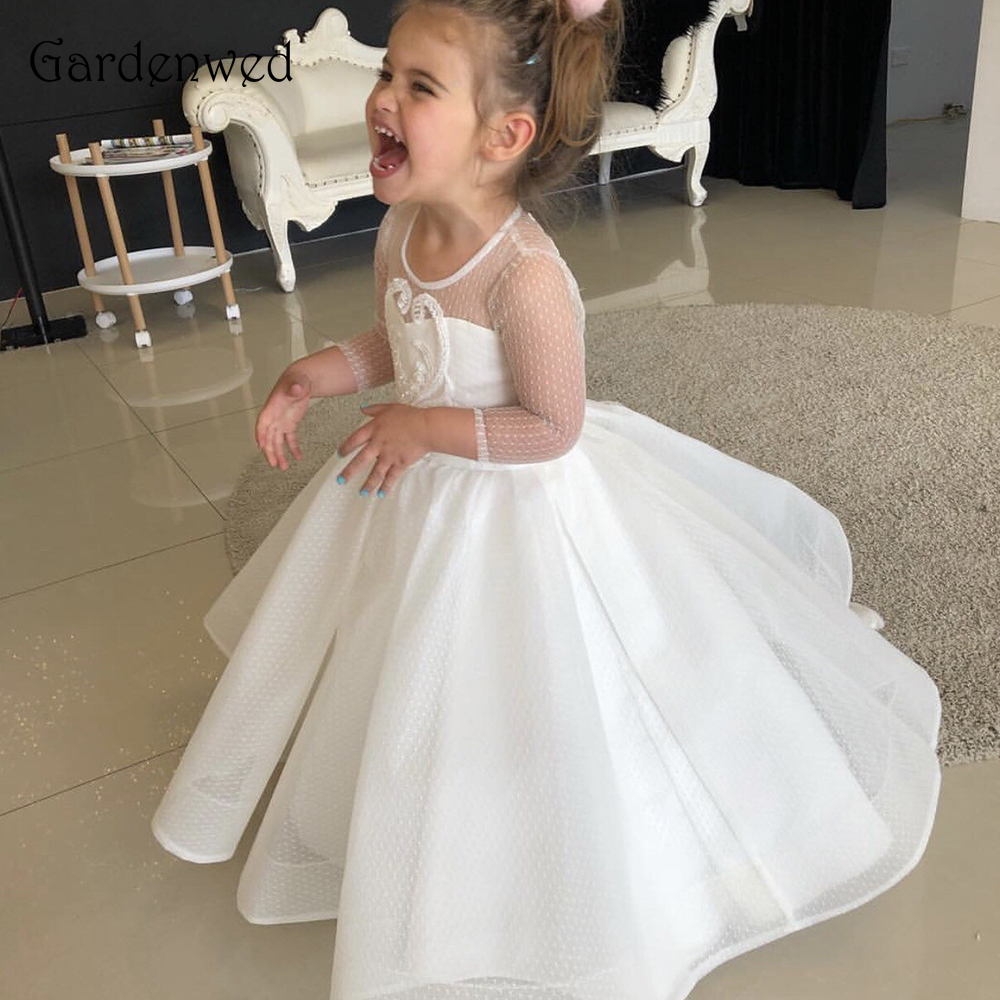 Gardenwed Long Sleeves Round Neck 2019 Ivory Pageant White Tulle Flower Girl Dress Embroidery Back Train Puffy A line Baby Gown