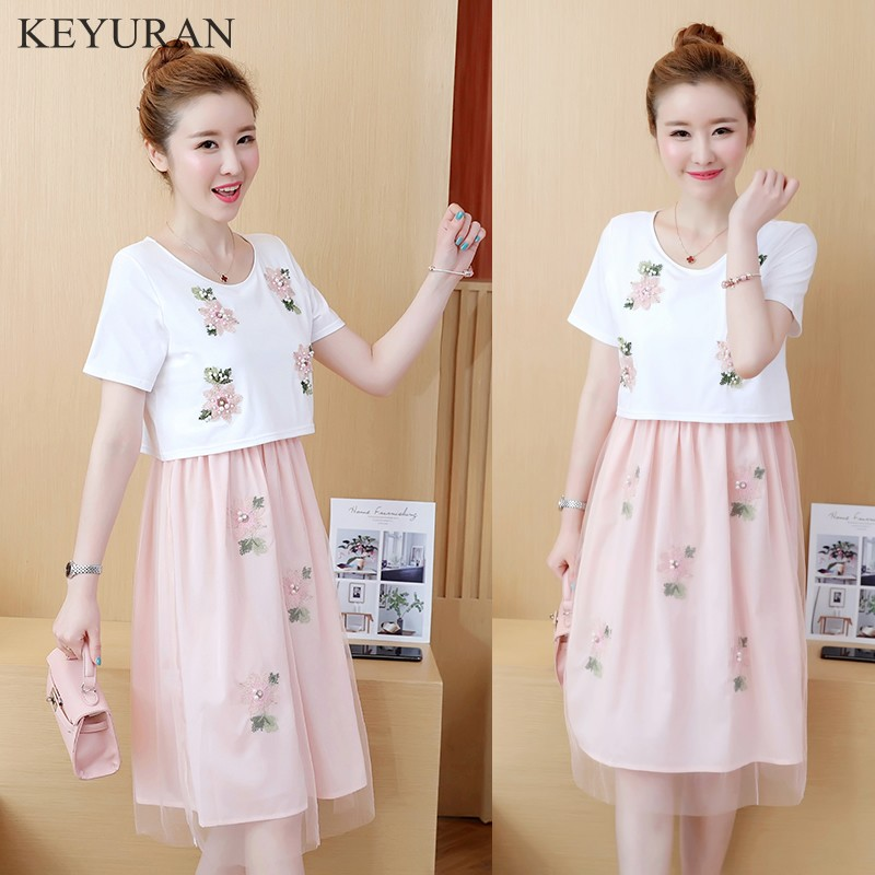Sweet Beading Applique Maternity Nursing Dress Summer Lovely Breastfeeding Clothes for Pregnant Women Cute Pregnancy Wear Y195