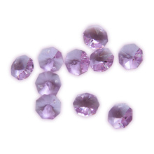 50pcs Colorful Crystal Octagon Beads In 2 Holes 14mm For  Chandelier Parts Home Decoration