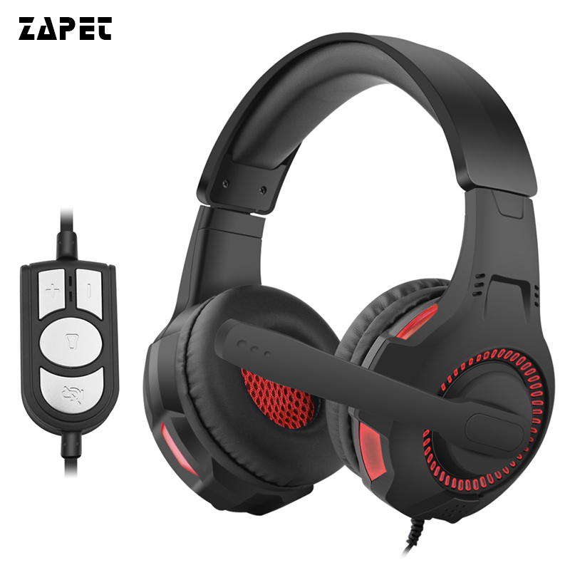 ZAPET Computer Big Gaming Headset LED Light Wired Earphone Bass HIFI Gamer casque With USB plug volume control with Mic for PC new wired gaming headset stereo headphone bass earphone with mic for pc computer gamer mp3 player audio