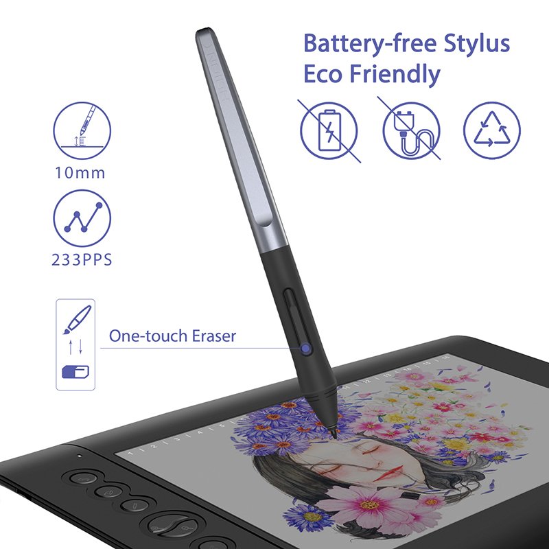 Huion H610 PRO V2 8192 niveaux tablette numérique dessin graphique tablette sans batterie stylo tablette avec fonction d'inclinaison pour Win et Mac - 2