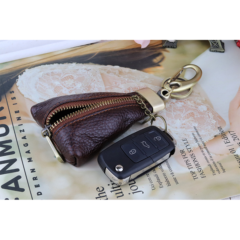 On Sale Handmade Vintage Genuine Leather Key Holder Men keyChain Cover Wallet key case bag Women Organizer