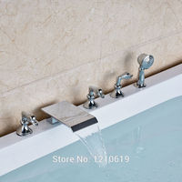 Newly Modern Style 5Pcs Tub Mixer Faucet Three Handles Chrome Finish Bathtub Faucet W Handheld Sprayer