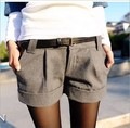 autumn and winter women's turn-up straight woolen bootcut short pants plusWhichout belt casual shorts black grey WL1002