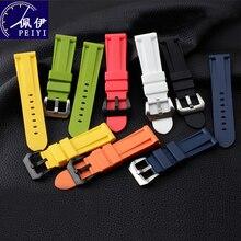 Peiyi Siliconen Horloge Band Met Pin Knop Kleur Polsbandje Mannen Horloge 24mm26mm Vervangen Rubber Horloge Ketting Voor Panerai PAM111