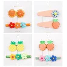 2Pcs/set Fruit BB Hair Clip for Girls Mini Flower Cartoon Hairpin Korean Ins Style Barrettes Headband Kids Accessories