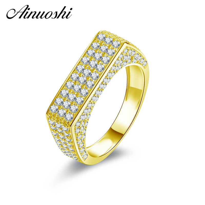 AINUOSHI 10K Solid Yellow Gold Wedding Band Anillos Engagement Anniversary Birthday Party Ring Unique Jewelry Gifts for Lady MenAINUOSHI 10K Solid Yellow Gold Wedding Band Anillos Engagement Anniversary Birthday Party Ring Unique Jewelry Gifts for Lady Men