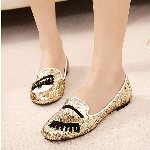 d10b7026f441 New 2014 Summer Gold Silver Glitter Flats Women Shoes Beautiful Eye Round  Toe Closed Toe Slip On Female Charming Shoes Wholesale