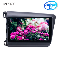 Harfey Android 8.1 10.1 car multimedia player for Honda Civic 2012Radio GPS navigation Audio System with Bluetooth 3G WiFi