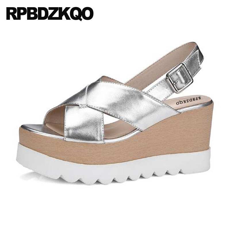 Pumps Shoes Designer Flatform Slingback Wedge Sandals High Heels Platform Genuine Leather Peep Toe Strap Women Silver Harajuku цены