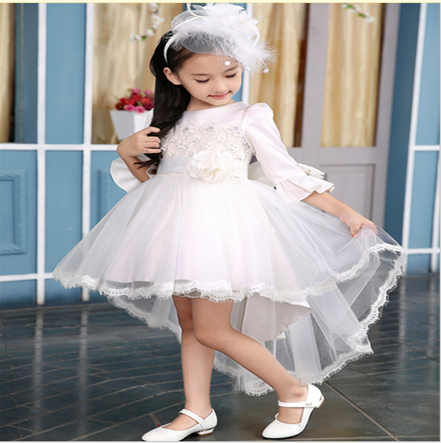 e29cf77d4 2019 Latest Design High Quality Girls Prom Dress Kids Party Wear Western  Dress With lace Tail For Wedding and Party