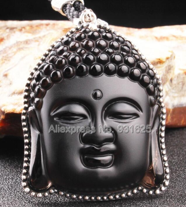 925 Silver Natural Ice Obsidian Handmade Carved Chinese Buddha Head Lucky Amulet Pendant + Beads Necklace Fashion Charm Jewelry 8 china silver fine workmanship carved lucky money happy buddha on fish statue d0426
