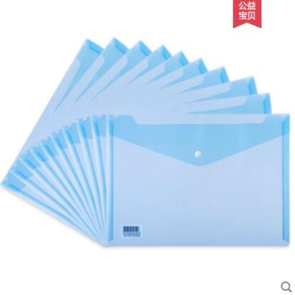 Plastic A4 Document Bag Transparent Button File Bags Holder 10 PCS/Lot Information File Organizer