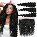 Wet And Wavy Human Hair Peruvian Deep Wave 3pcs With Peruvian Frontal Lace Closure13x4 Tissage Cheveux Humain Wonder Beauty Hair