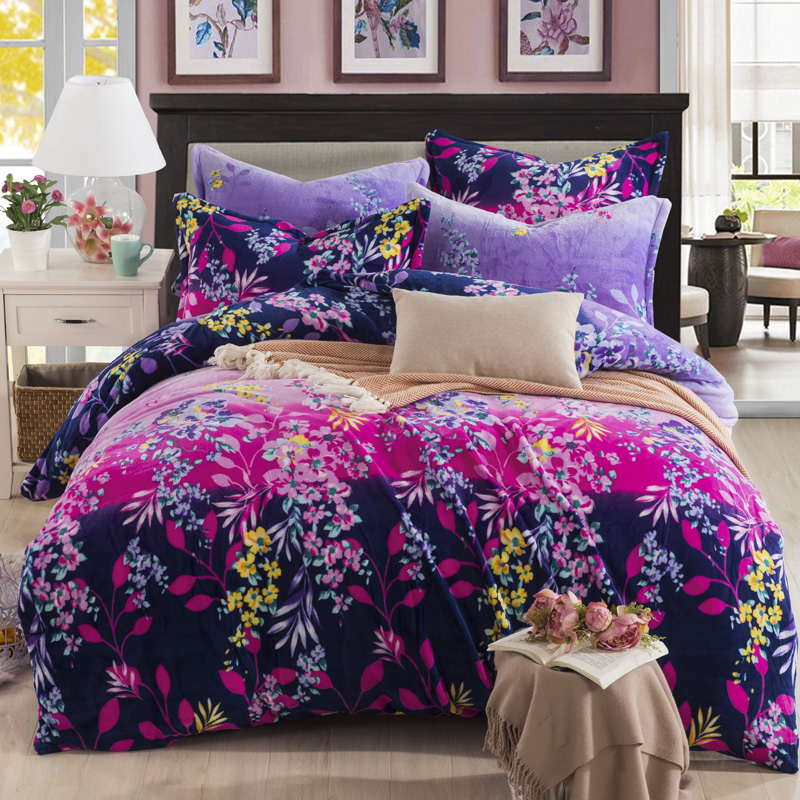 color stripes flowers fleece winter bedding setduvet cover flat sheet pillowcase - Flannel Sheets Queen