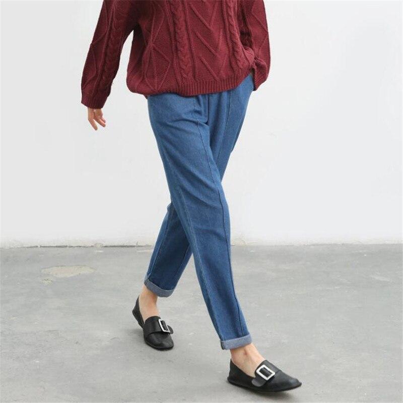 2017 New Autumn Jeans Harem Pants Women Trousers Casual Plus Size Loose Fit Vintage Denim Pants High Waist Jeans  S0157 plus size 2016 spring new vintage jeans ladies mid waist loose slim jeans trousers casual jeans women