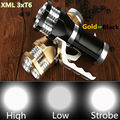 6000LM LED Flashlight Torch 3xCREE XML T6 LED Rechargeable Torch Gold or Black Tactical Flash lamp light For 3x18650 Battery