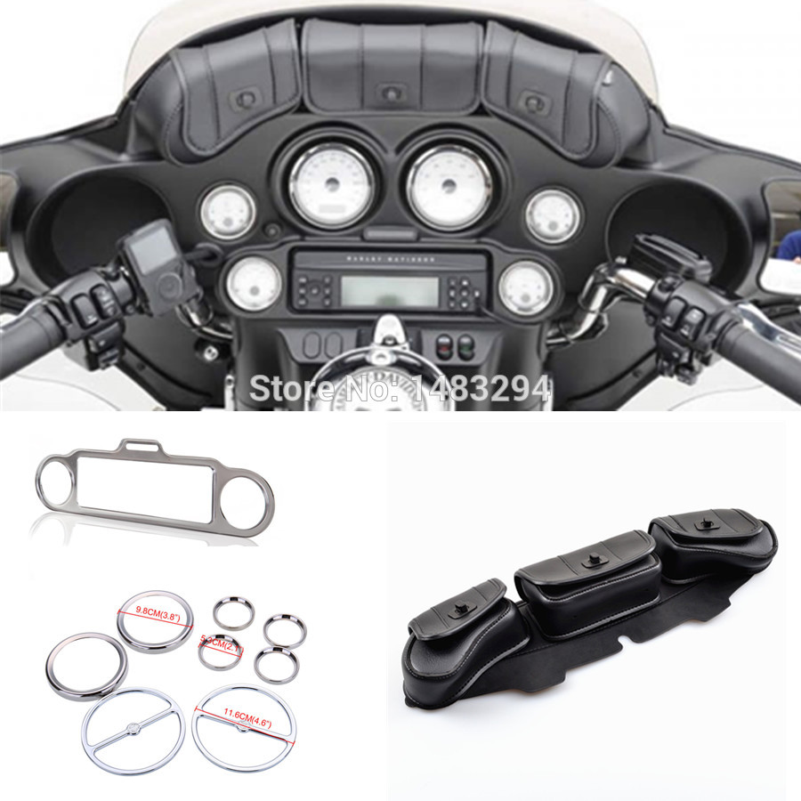 Chrome Stereo Accent Speedometer Speaker Trim Ring Set + Windshield Bag fits for Harley Electra Street Glide Touring