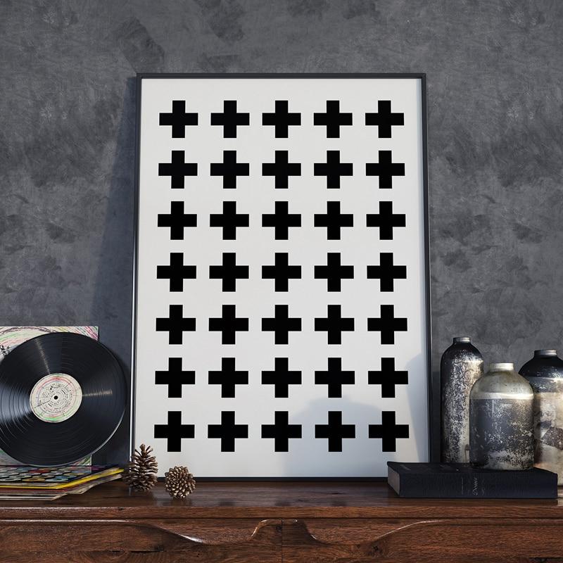 Крест-накрест холст стены Книги по искусству, печати плакат, швейцарский крест, скандинавский плакат, Черный и белый, плюс, минималистский д...