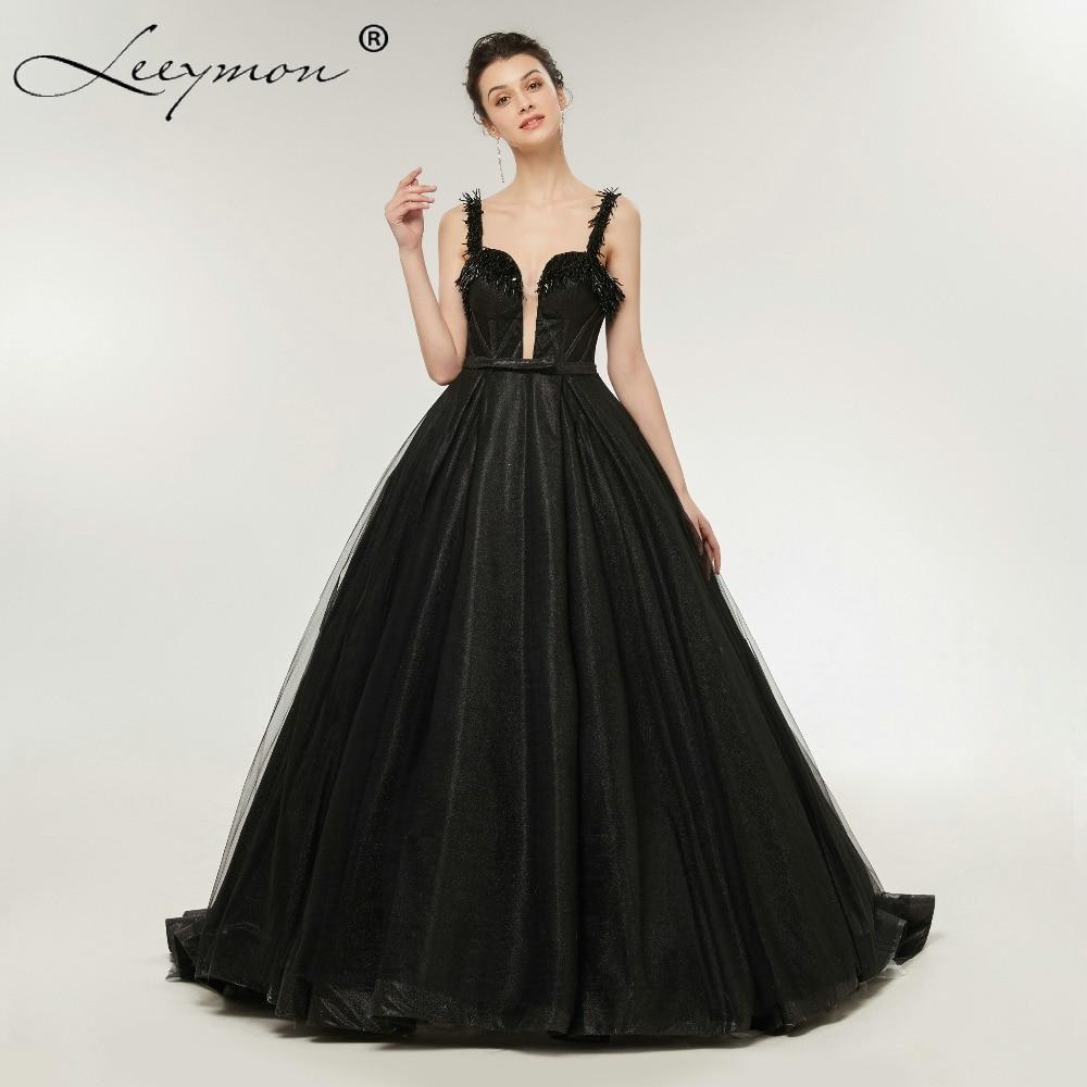 Robe De Soiree negro brillante lentejuelas vestido de noche correa de - Vestidos para ocasiones especiales