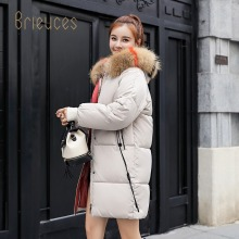 Brieuces 2019 New yellow Winter Jacket Women Parka Fake Fur Collar Down Wadded Female outerwear Cotton-Padded Jackets Coat
