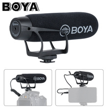BOYA BY BM2021 카디오이드 DSLR 용 카메라 마이크 3.5MM TRS TRRS 케이블 어댑터가있는 Nikon Canon 캠코더 전화 마이크