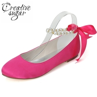 Creativesugar Fashion flat pearl ankle strap hot pink women's shoes wedding party prom casual shoes ribbon bow closed toe lady
