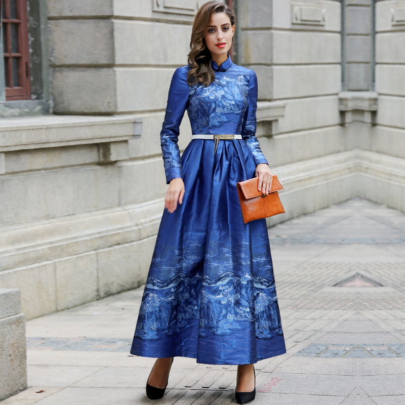 New Elegant Female Blue Dress Chinese Style Neckline Long Sleeve Maxi Slim Flare Party Dresses Plus Size Women Clothing Ss5942 In From S