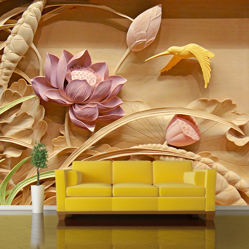 Custom 3D Photo Wallpaper Wood Carving Lotus Flower Large Wall Mural Wallpaper Living Room Sofa TV Background Papel De Parede 3D 3d mural papel de parede purple romantic flower mural restaurant living room study sofa tv wall bedroom 3d purple wallpaper