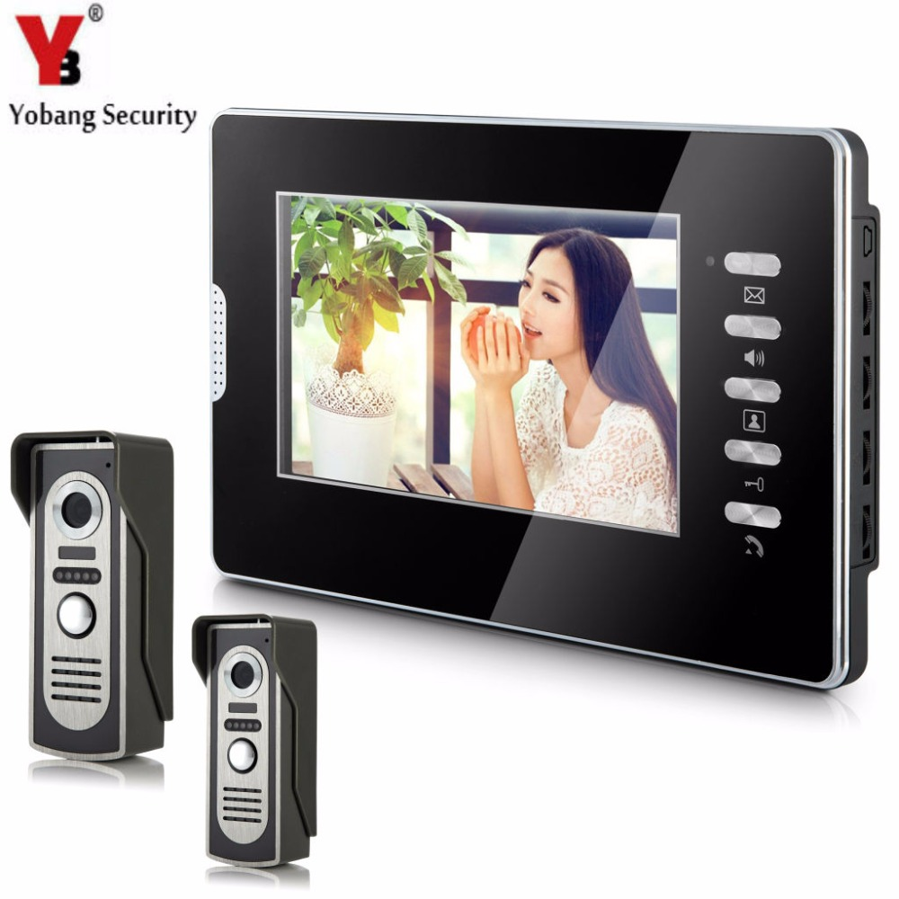 YobangSecurity 7Inch Monitor Video Doorbell Door Phone Video Door Intercom Night Vision 2 Camera 1 Monitor Security System yobangsecurity home security 7inch monitor video doorbell door phone video intercom night vision 1 camera 1 monitor system