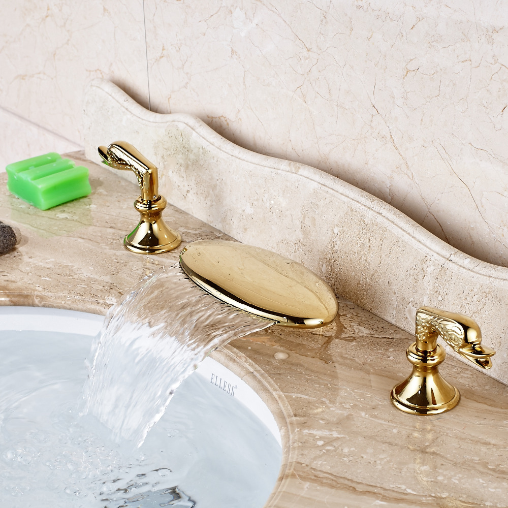 Waterfall Spout Bathroom Basin Faucet Widespread Vanity Sink Mixer Tap Gold Finish стоимость