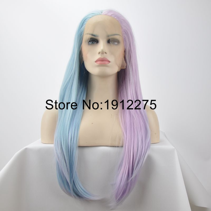 ФОТО Fashion Party Wig Natural Straight Mix Color Sky Blue to Pink Synthetic Lace Front Wig For Women Heat Resistant Drag Queen Hair