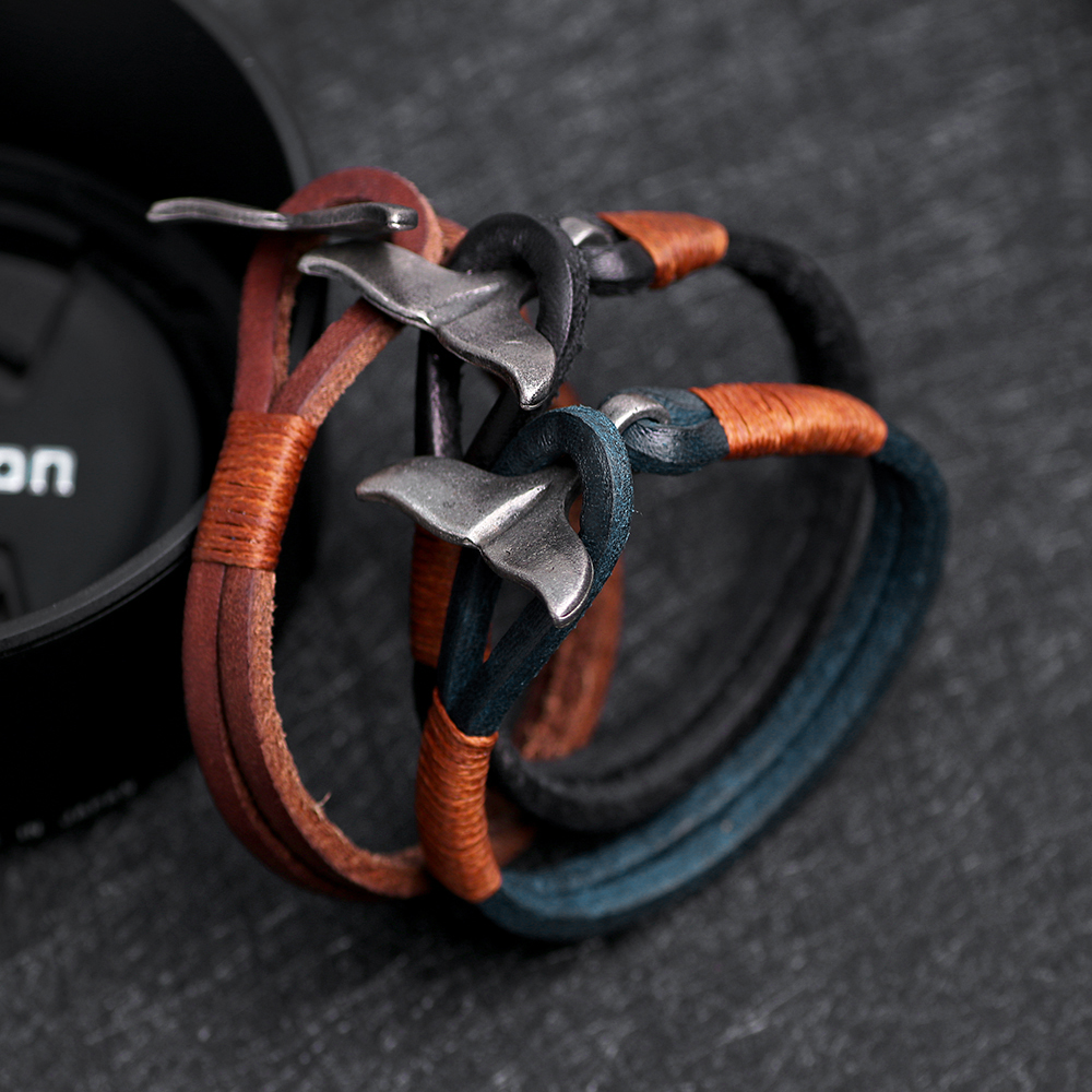 19.5 cm Luxury Brand Mens Leather Bracelets Homme Gifts Charm Stainless Steel Whale Tail Bangles&Bracelets For Men Jewelry