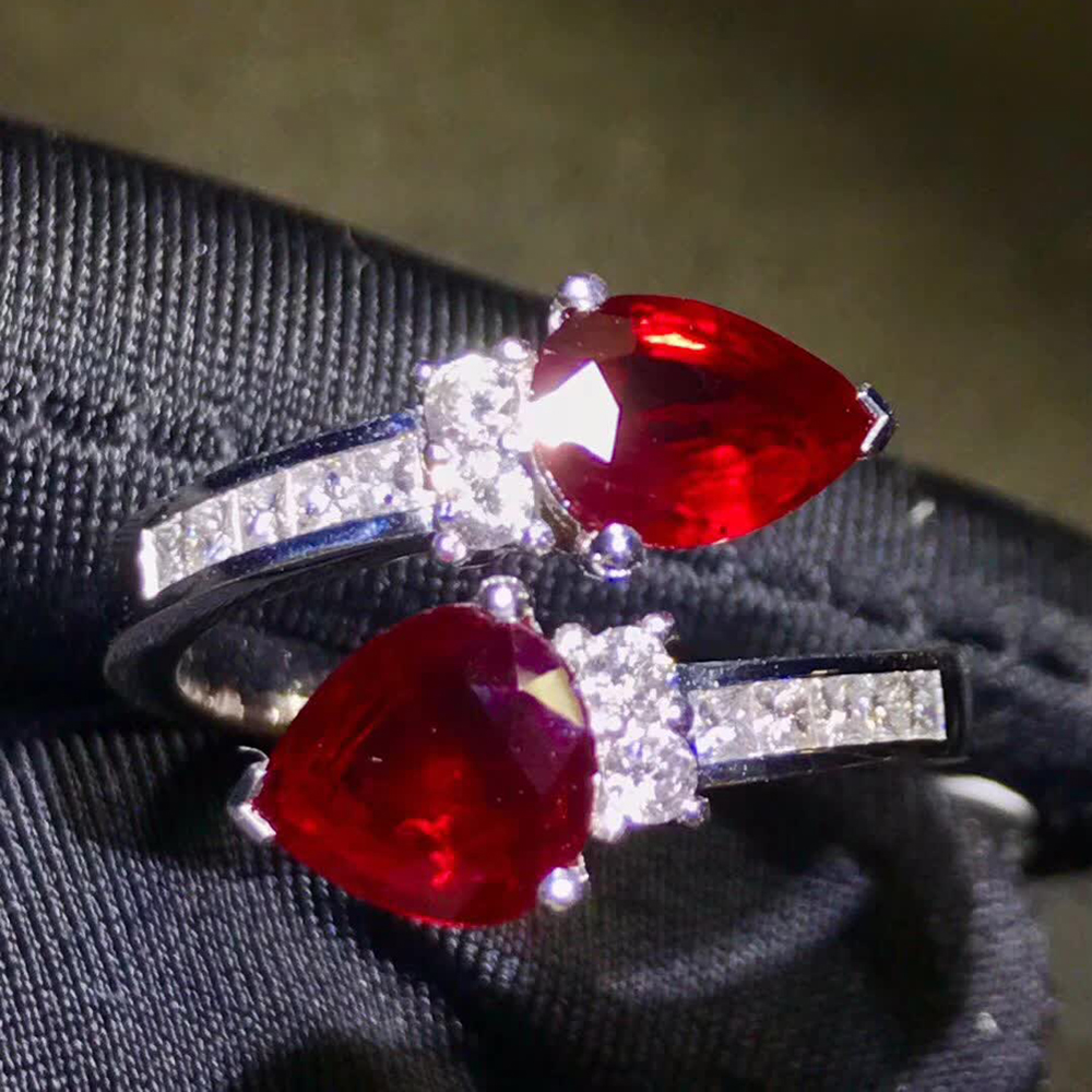 gemstone jewelry factory classic luxury 18k gold South Africa real diamond 2.6ct red natural ruby wedding engagement ring 2