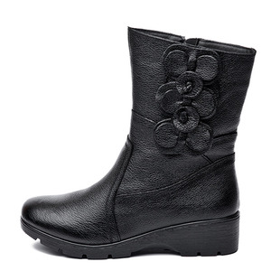 Image 2 - DRKANOL Fashion Women Snow Boots Winter Thick Plush Warm Wedge Mid Calf Boots Side Zipper Sweet Flowers Winter Mother Boots