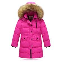 2019 moda çocuk ördek aşağı ceket doğal kürk yaka uzun kalın kış ceket kız çocuk ceket dış giyim sıcak soğuk kış