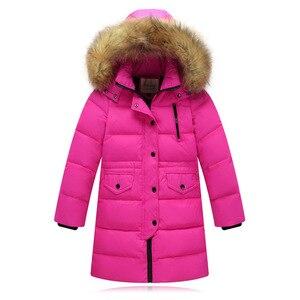 Image 1 - Модная детская куртка на утином пуху 2019, длинная толстая зимняя куртка с воротником из натурального меха, Детское пальто для девочек, теплая верхняя одежда для холодной зимы