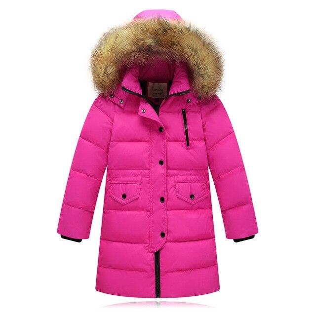 Модная детская куртка на утином пуху 2019, длинная толстая зимняя куртка с воротником из натурального меха, Детское пальто для девочек, теплая верхняя одежда для холодной зимы