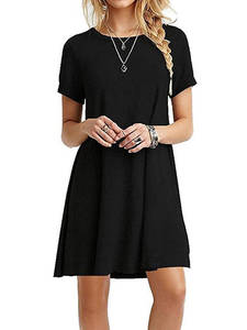 T-Shirt Dress Tops Pullover Tunic Short-Sleeves Swing O-Neck Vestidos Plain Mini Solid-Color
