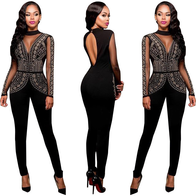 Womens Black Long Sleeve Rhinestone Bodycon Sexy Jumpsuits Ladies Backless Clubwear Long Pants Body Suits