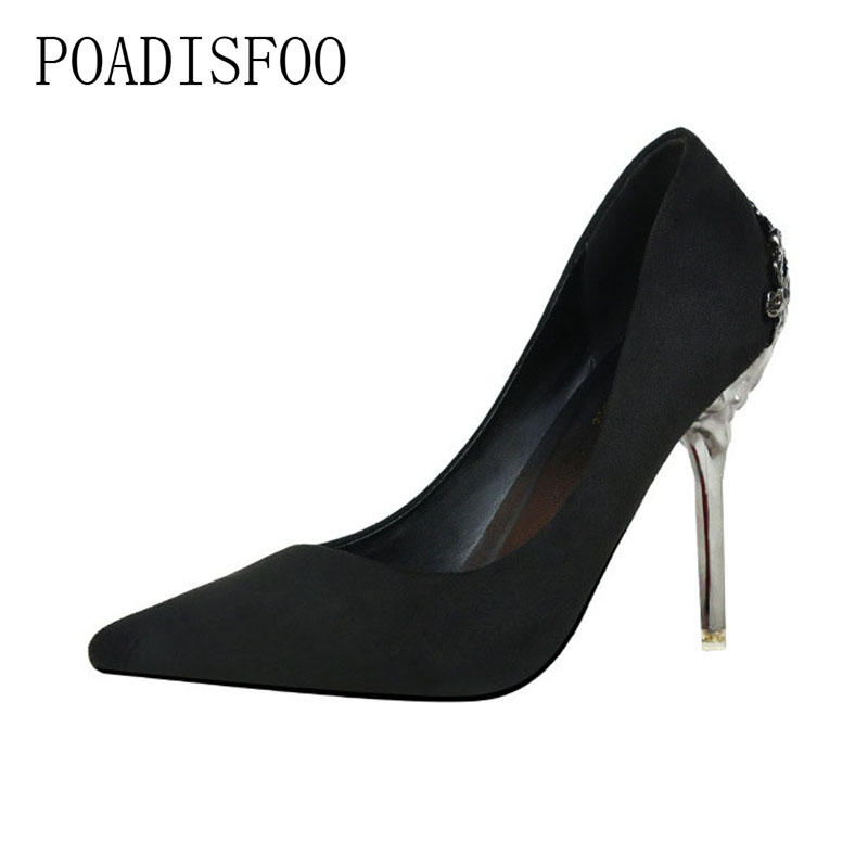 POADISFOO 2018 women pumps Wedding Shoes Red Bridal Shoes Metal Hollow Suede Pointed High Heels for ladies .ZWM-1723-1 siketu 2017 free shipping spring and autumn women shoes fashion sex high heels shoes red wedding shoes pumps g107