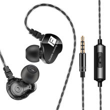 Wired Earphone Bass Heavy Dual Driver Stereo Hifi Earphones Sport Music Earbud With Mic For Smartphone